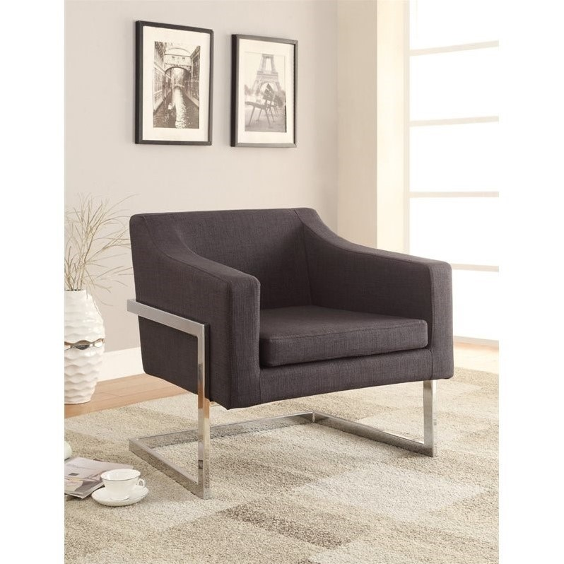 contemporary accent chair see through plastic coaster metal frame in gray 902530