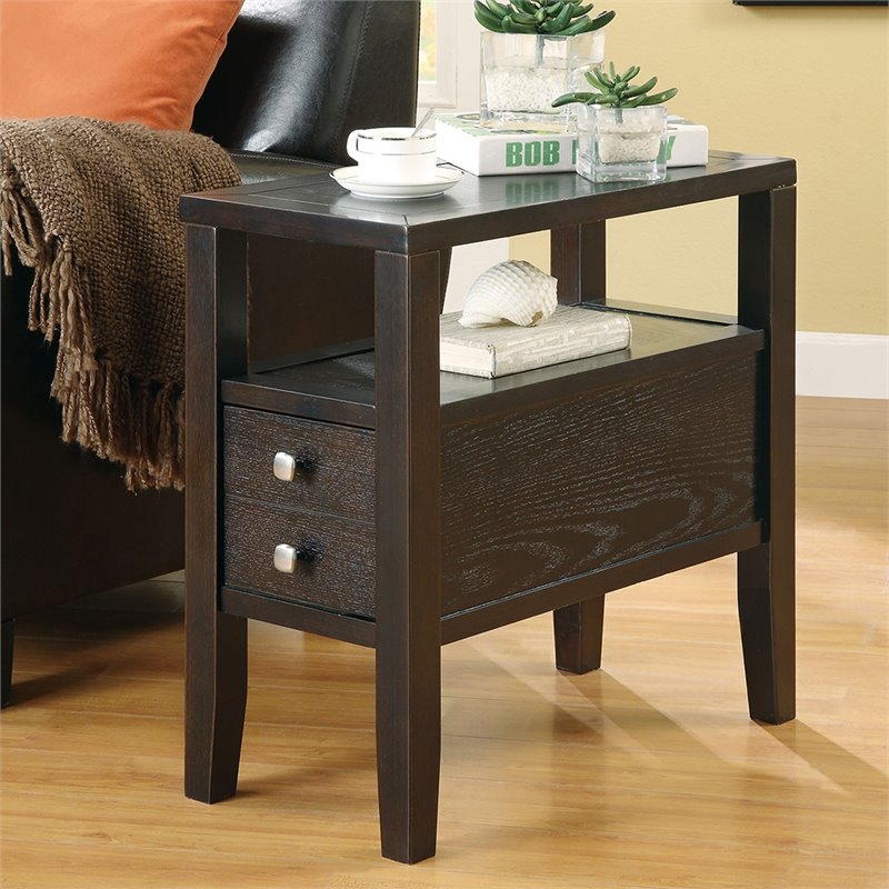 chair side tables with storage white resin folding chairs bulk coaster end table in cappucino 900991