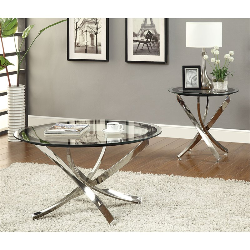 coaster norwood round glass top accent coffee table in chrome