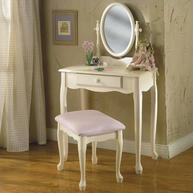 Powell Furniture Girls Vanity with Mirror and Bench Set
