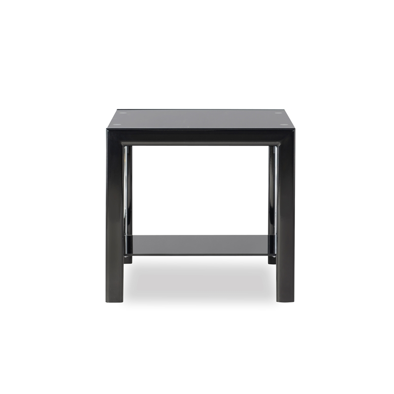 powell contemporary coffee table and end table glass and metal set in black