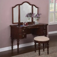 Powell Furniture Marquis Cherry Wood Makeup Vanity Table ...