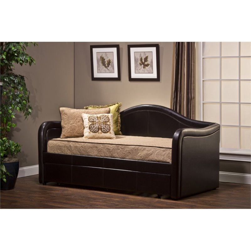 Hillsdale Brenton Faux Leather Daybed With Trundle In