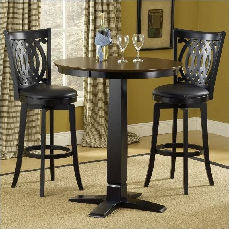small pub table and chairs low cost chair covers ltd hillsdale dynamic designs 5 piece stools set 4975ptbblksvd