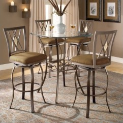 Pub Height Outdoor Table And Chairs Old Fashioned Kitchen Chair Step Stool Hillsdale Brookside 5 Piece Bar Bistro Set With Diamond Stools - 4815ptbsdm5