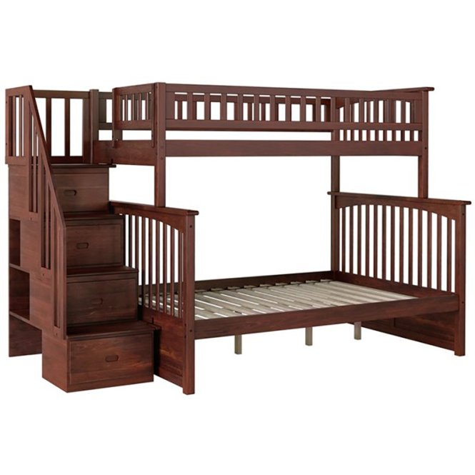 Atlantic Furniture Columbia Twin Over Full Staircase Bunk Bed