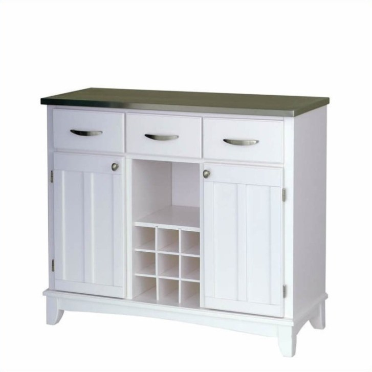 Styles Large White Base Stainless Steel Top Buffet Kitchen Island