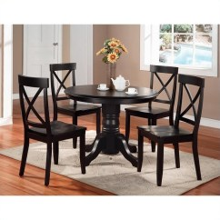 Round Black Kitchen Table Playset For Toddlers 5 Piece Pedestal Set 5178 318