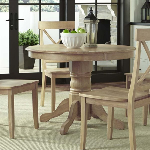 """Classic 42"""" Pedestal Dining Table In White Wash"""
