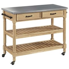 Home Styles Kitchen Cart Copper Light Fixtures Savannah Stainless Steel Top In Natural Maple