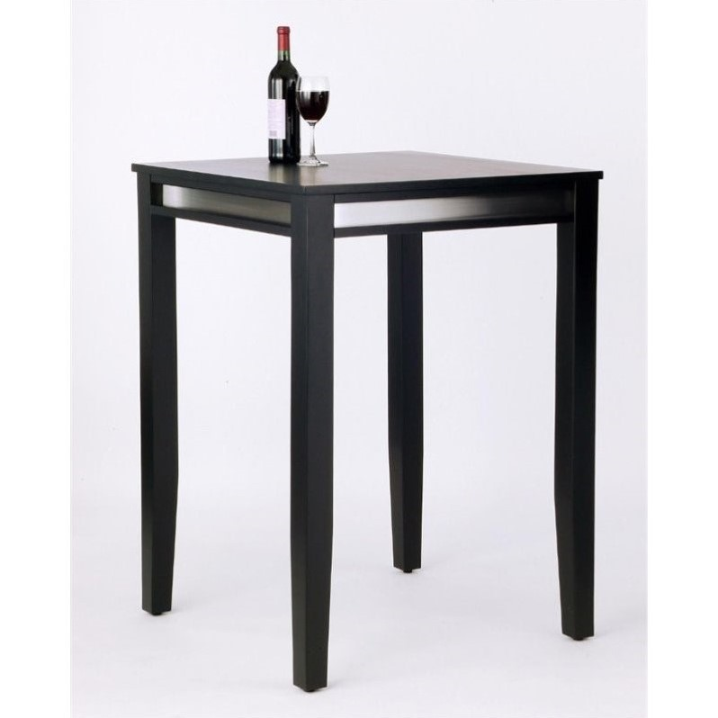 Solid Wood Bar Height Pub Table in Black  512335