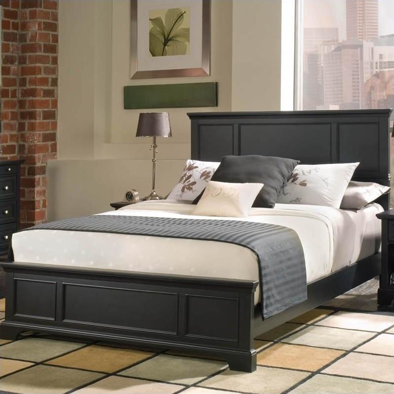 queen wood panel bed 3 piece bedroom set in ebony - 5531-5014
