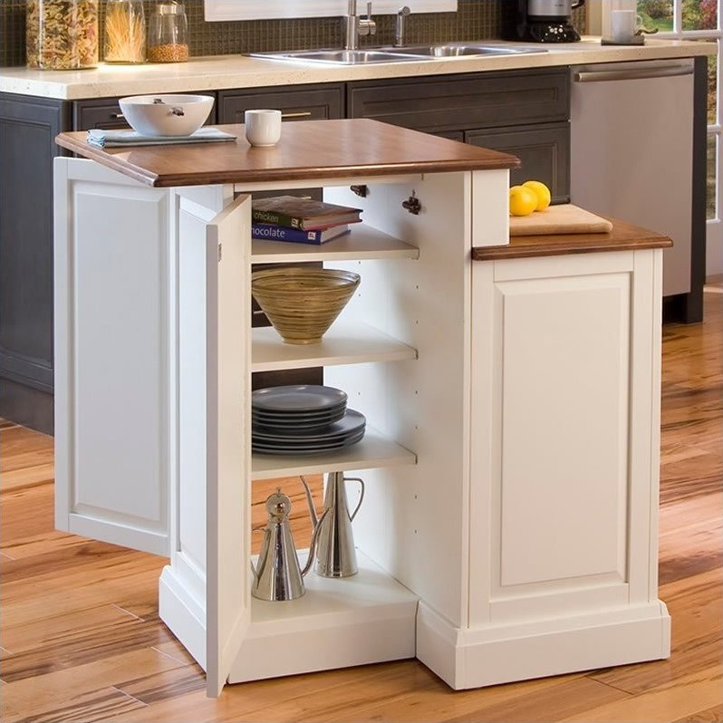 2 tier kitchen island closet organizers two in white and oak - 5010-94
