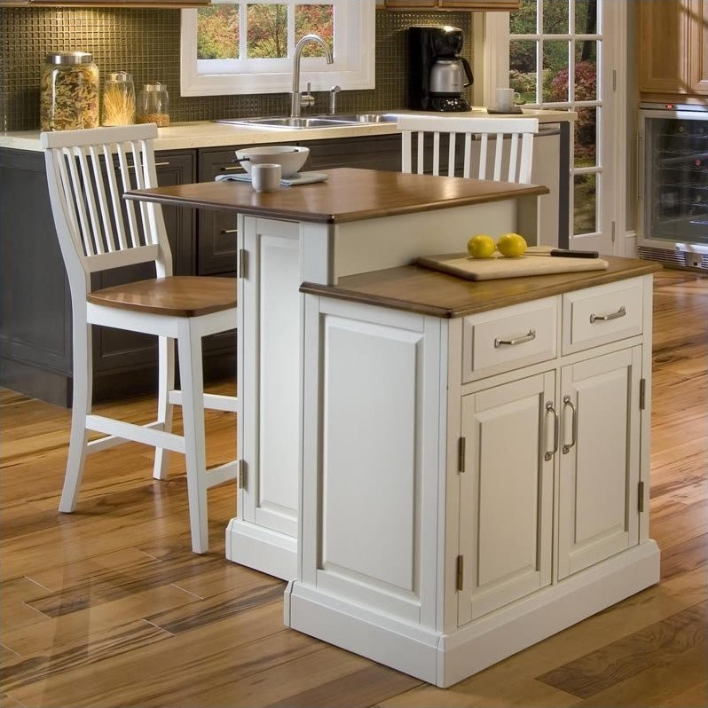 Two Tier Kitchen Island And Stools Set In White And Oak 5010 948