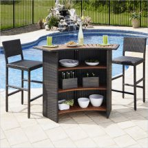 Home Styles Riviera Outdr Woven & Two Stools Set Brown