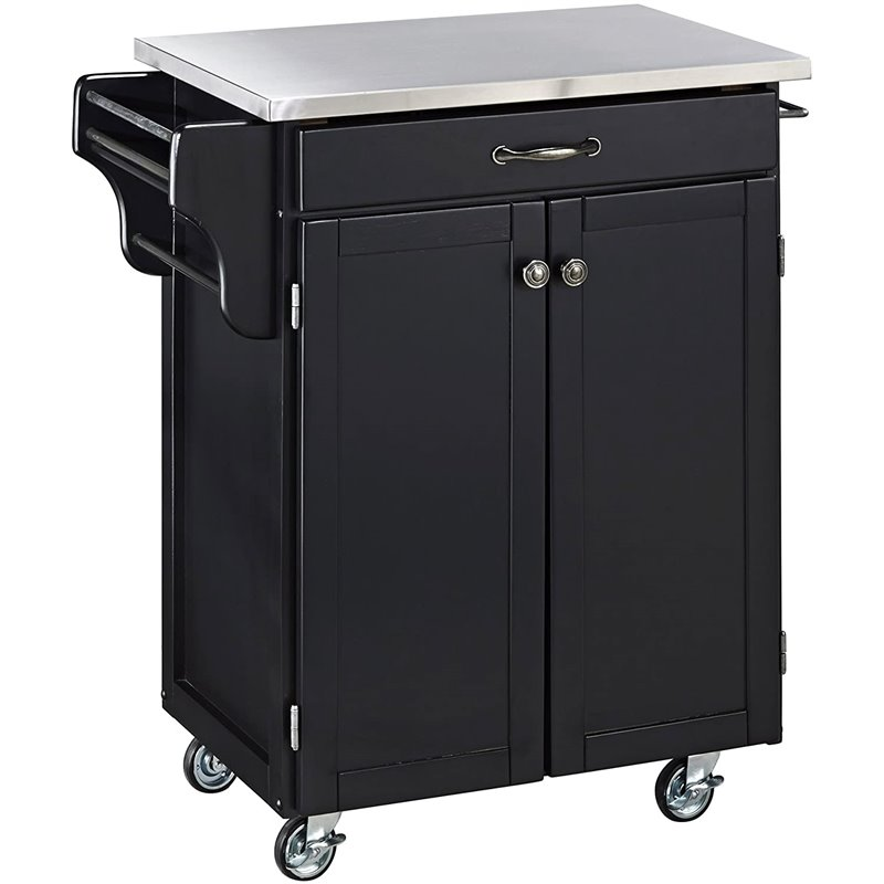 wooden kitchen cart green rug black wood with stainless steel top 9001 0042