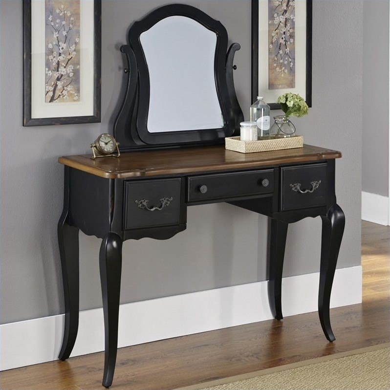Warm Cherry Wood Makeup Vanity Table with Mirror and Bench