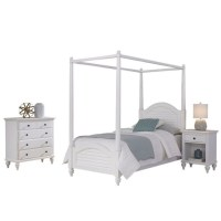 3 Piece Wood Twin Canopy Bedroom Set in White - 5543-4102