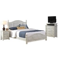 3 Piece Wicker King Bedroom Set in White