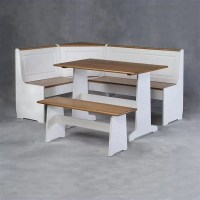 Linon Ardmore Corner Kitchen Nook White Pine Dining Set | eBay