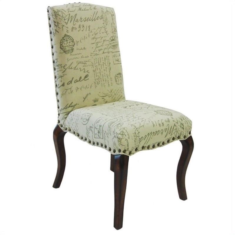 Armen Living Madeleine Vintage French Script Side Chair