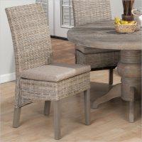 Jofran Kubu Rattan Dining Side Chair Burnt Grey (set of 2 ...