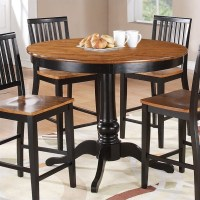 Candice Round Counter Height Dining Table in Oak and Black ...