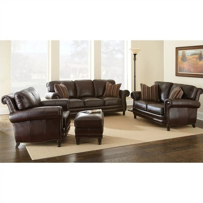 Chateau 4 Piece Leather Sofa Set In Antique Chocolate