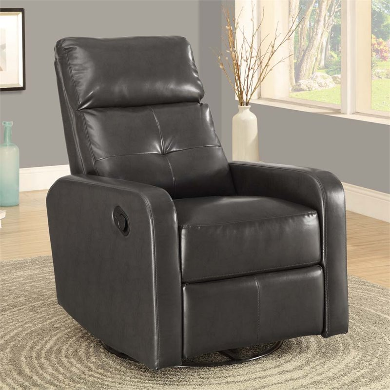 Leather Swivel Glider Recliner in Charcoal Gray  I8085GY
