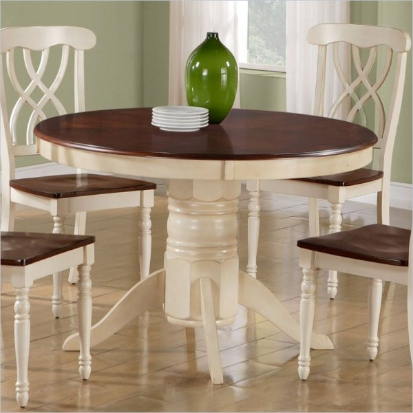Monarch Pedestal Antique White Walnut Veneer Dining Table