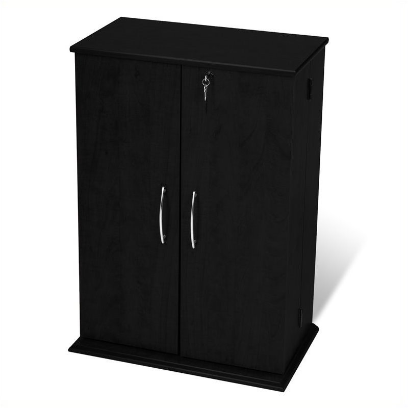 Prepac Locking CD DVD Media Storage Cabinet Black  eBay
