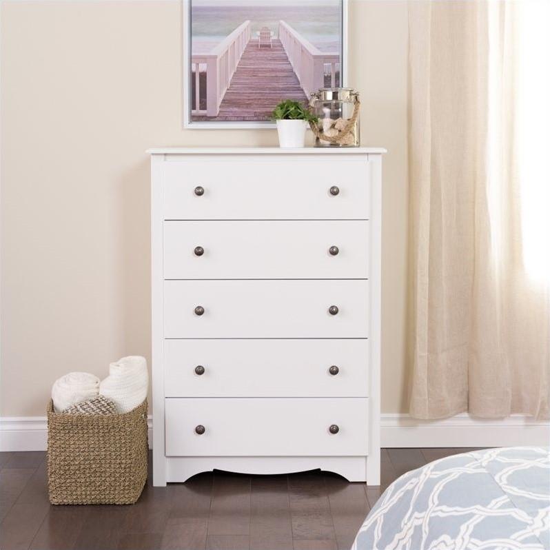 Prepac Monterey 5 Drawer Chest White DressersChest  eBay