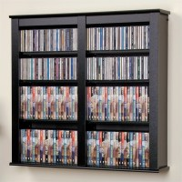 Double Floating CD DVD Wall Media Storage Rack in Black ...