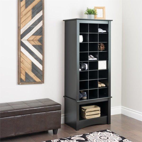 Prepac Tall Cubbie Cabinet Black Shoe Rack