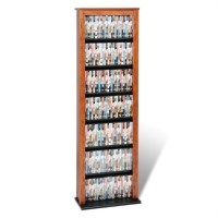 Prepac Slim Barrister CD DVD Media Storage Tower Cherry