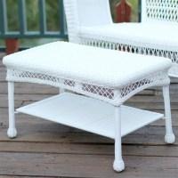 Jeco Wicker Patio Furniture White Outdoor Coffee Table | eBay