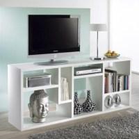 TV Stand Entertainment Center Furniture Bookcase in White ...