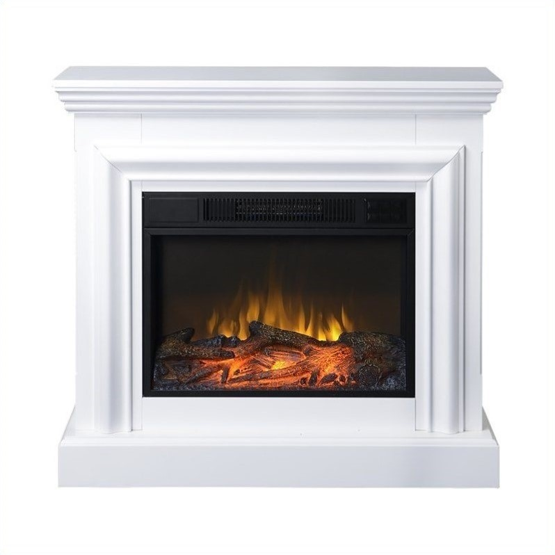 Homestar 38 Wide Mantel White Electric Fireplace