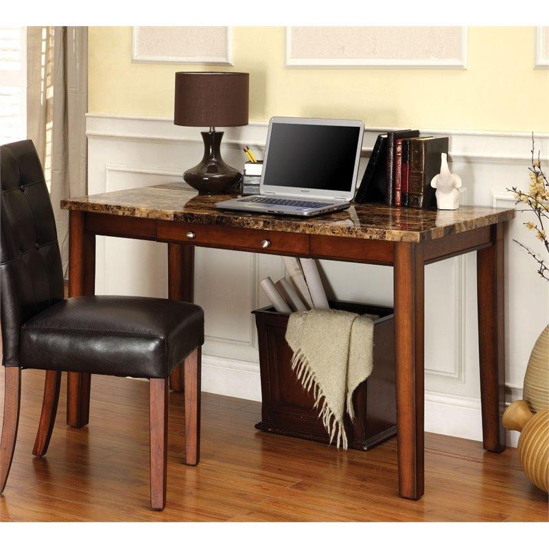 Furniture of America Keiden Faux Marble Top Computer Desk
