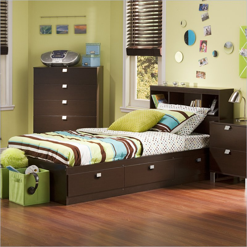 South Shore Logik 4 Piece Pure White Twin Kids Bedroom Set: Kids Twin Bedroom Set