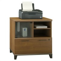 Bush Achieve Lateral File & Printer Stand Warm Oak Filing ...