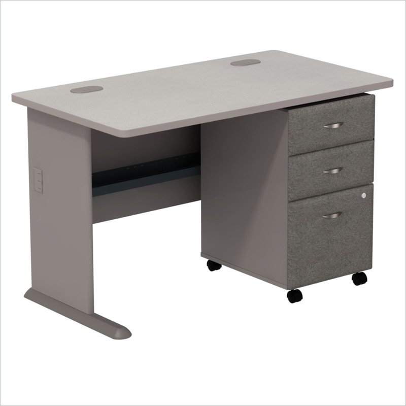 BBF Series A 48 034 Computer Desk w 3 Drawer File Cabinet