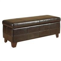 Modus Milano Leather Storage Bench Chocolate Brown Ottoman ...