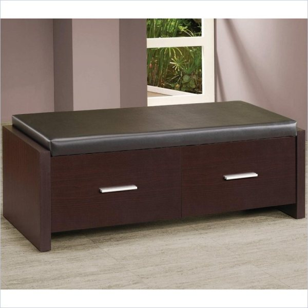 Coaster 2 Drawer Storage Bench Padded Seat Cappuccino Bedroom Benche
