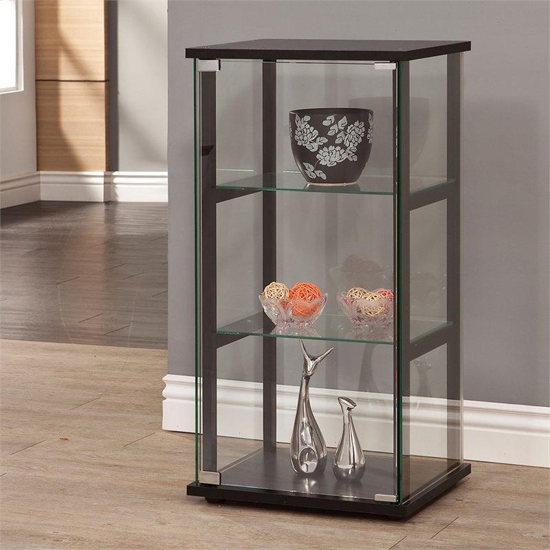Coaster Contemporary Glass Curio Cabinet in Black  950179ii