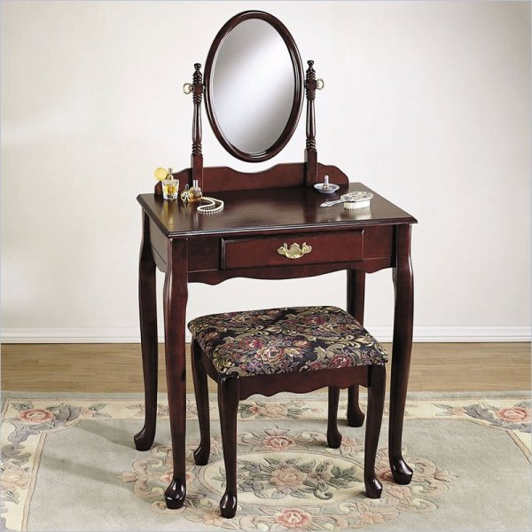 Cherry Makeup Vanity Table with Mirror