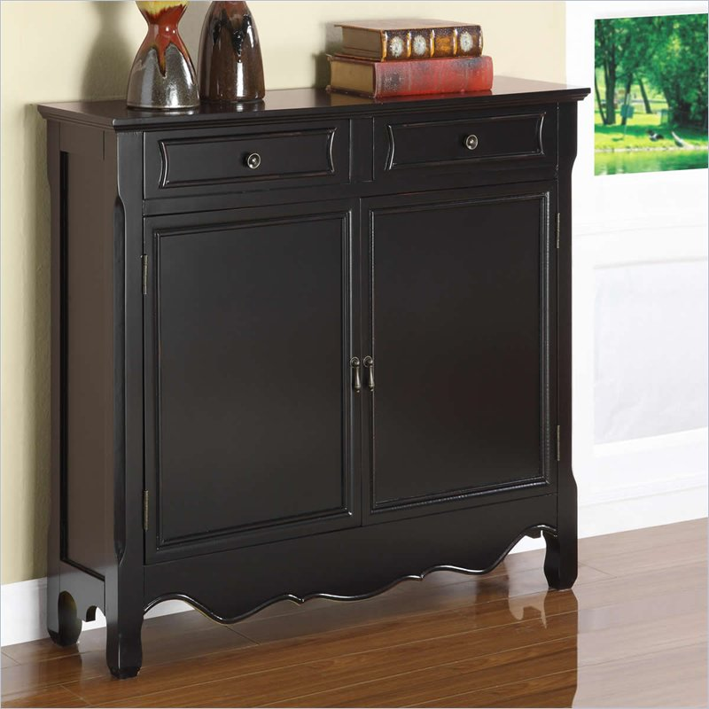 Powell Furniture Black 2Dr Storage Cabinet Console Table