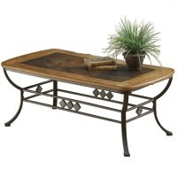 Lakeview Rectangle Slate Top Coffee Table in Brown and ...