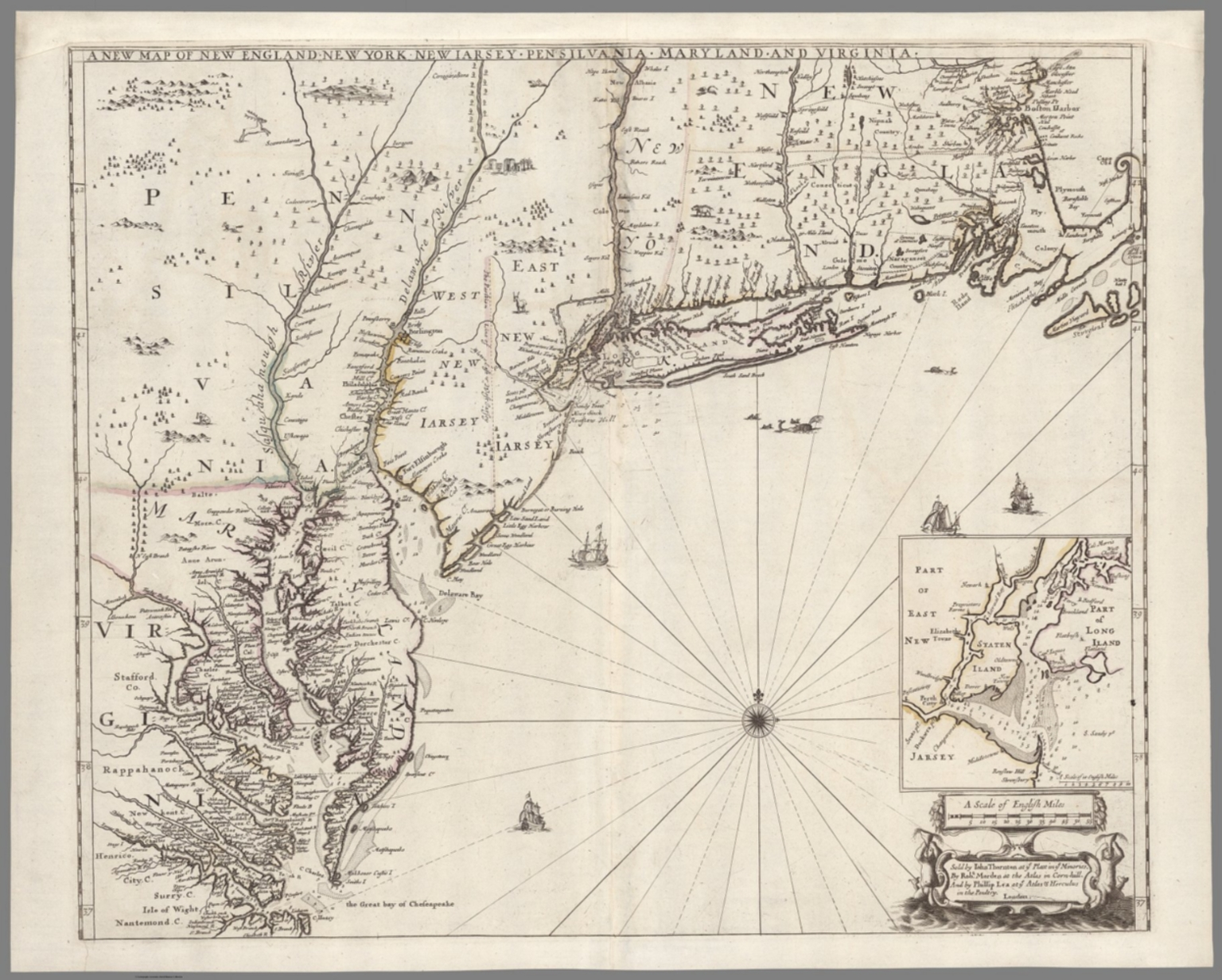 A New Map Of New England New York New Iarsey Pensilvania