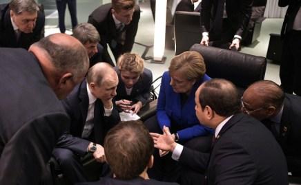Vladimir Putin în timpul celei mai recente întâlniri cu europeni și africani pe tema libiană